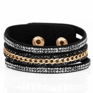 Rollin In Rhinestones - Black Wrap Bracelet